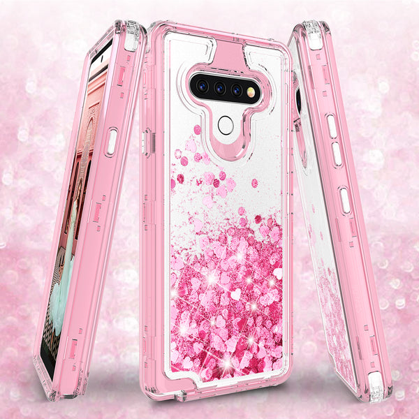 hard clear glitter phone case for lg stylo 6 - pink - www.coverlabusa.com