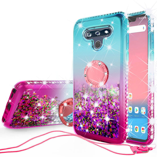 glitter phone case for lg stylo 6 - teal/pink gradient - www.coverlabusa.com