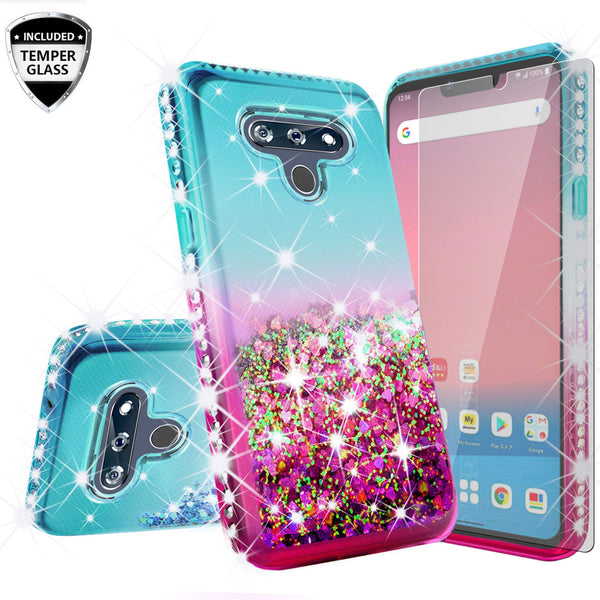 glitter phone case for lg stylo 6 -teal/pink gradient - www.coverlabusa.com