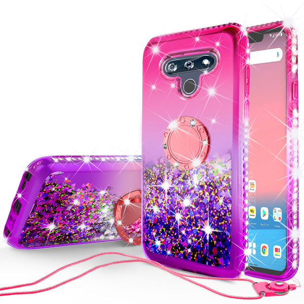 glitter phone case for lg stylo 6 - hot pink/purple gradient - www.coverlabusa.com