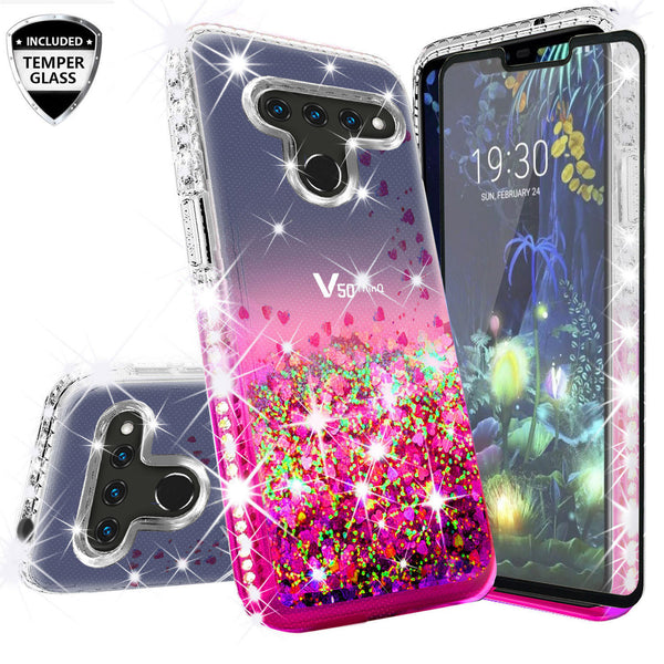 clear liquid phone case for lg v50 thinq 5g- pink - www.coverlabusa.com