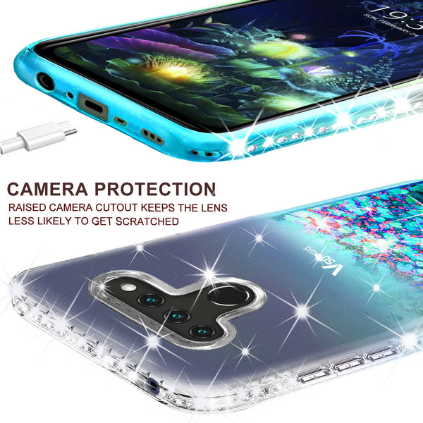 clear liquid phone case for lg v50 thinq 5g- teal - www.coverlabusa.com
