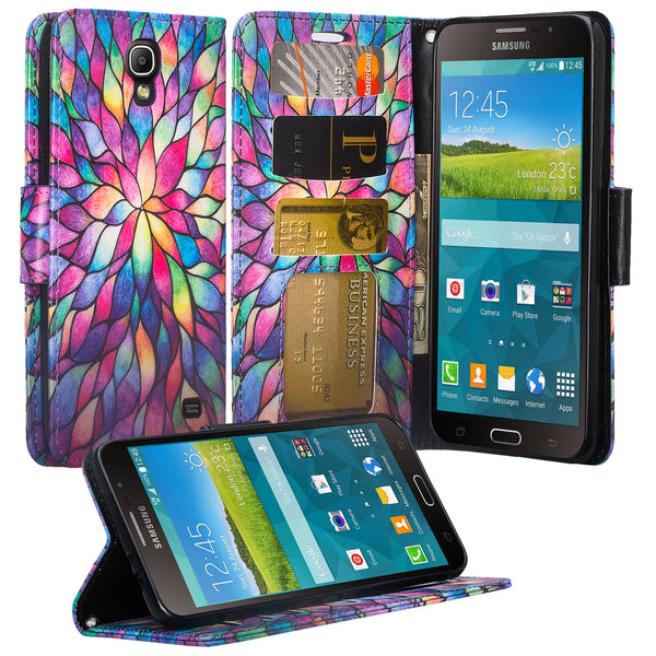 samsung galaxy mega 2 case - wallet - rainbow flower - www.coverlabusa.com