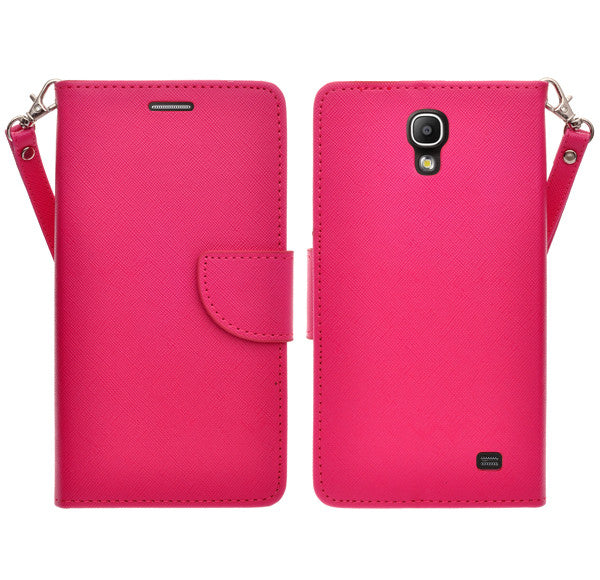 samsung galaxy mega2 leather wallet case - hot pink - www.coverlabusa.com