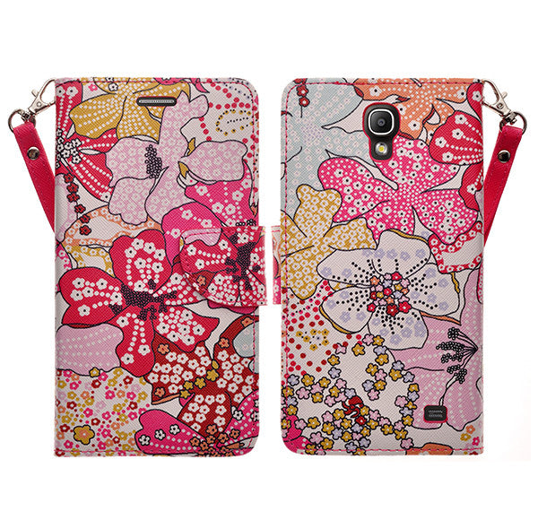 samsung galaxy mega2 leather wallet case - pink flower - www.coverlabusa.com