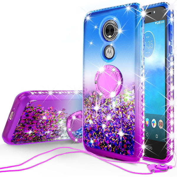 glitter ring phone case for moto e5 play - blue gradient - www.coverlabusa.com
