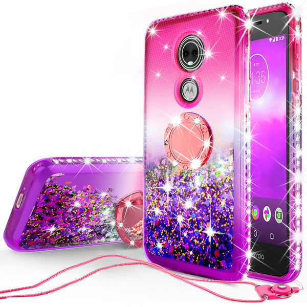 glitter ring phone case for moto e5 play - pink gradient - www.coverlabusa.com
