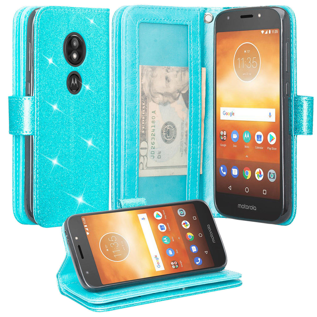 new concept 9ff17 c391e Motorola Moto G6 Play, G6 Forge Case, [Wrist Strap] Glitter Faux Leather  Flip [Kickstand Feature] Protective Wallet Case Cover Clutch - Teal