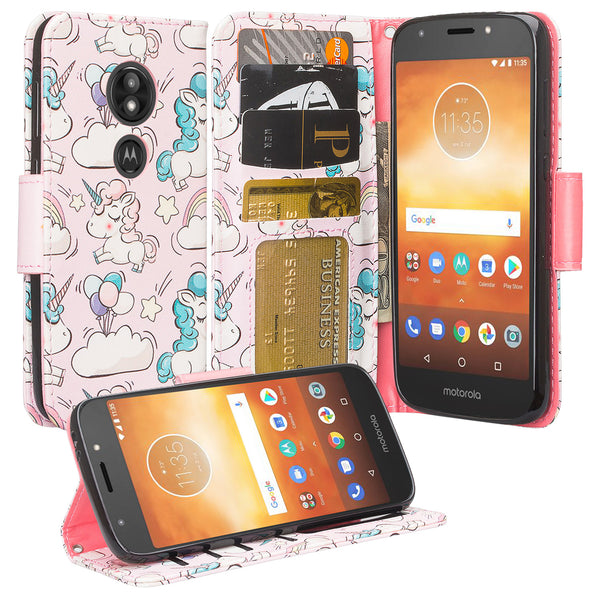 Motorola Moto E5 Plus leather wallet case - pink unicorn - www.coverlabusa.com