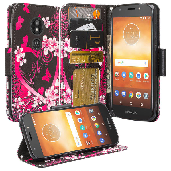 Motorola Moto E5 Plus Wallet Case - heart butterfliels - www.coverlabusa.com