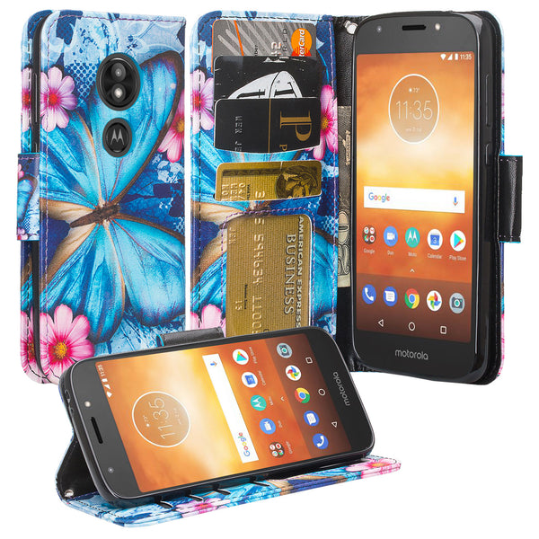Motorola Moto E5 Play Wallet Case - blue butterfly - www.coverlabusa.com