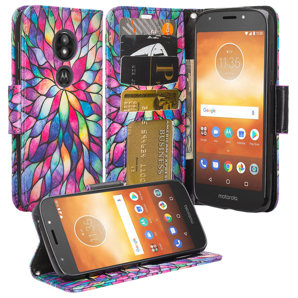 Motorola Moto E5 Plus Wallet Case - rainbow flower - www.coverlabusa.com