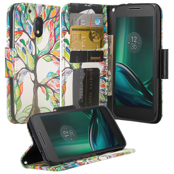 motorola moto g4 play leather wallet magnetic fold case - vibrant tree - www.coverlabusa.com
