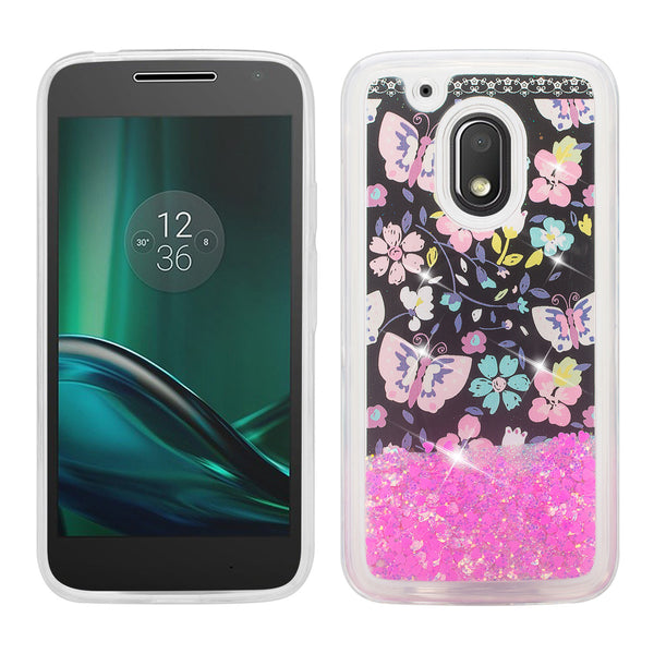 moto g4 play liquid sparkle quicksand case - pink butterfly - www.coverlabusa.com