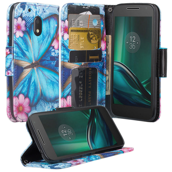 motorola moto g4 play leather wallet magnetic fold case - blue butterfly - www.coverlabusa.com