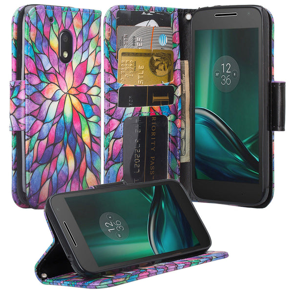 motorola moto g4 play leather wallet magnetic fold case - rainbow flower - www.coverlabusa.com
