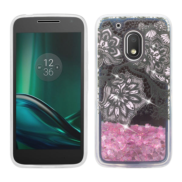 moto g4 play liquid sparkle quicksand case - clear pink flower - www.coverlabusa.com