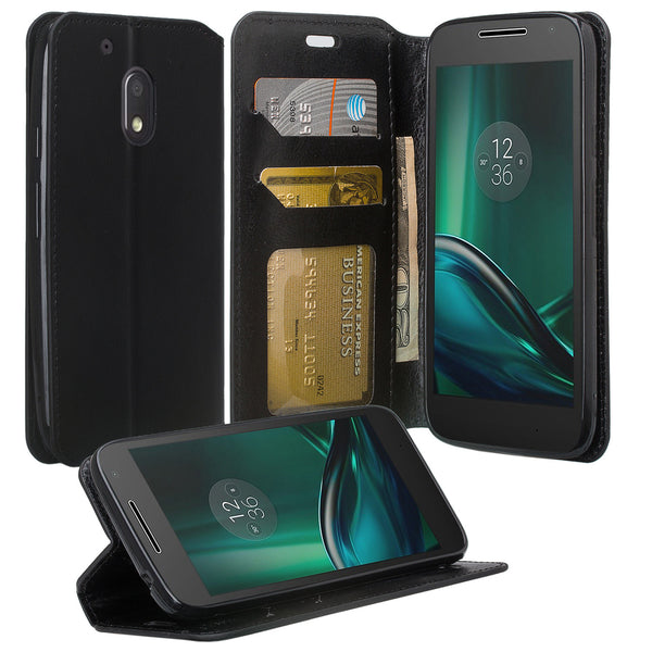 motorola moto g4 play leather wallet magnetic fold case - black - www.coverlabusa.com