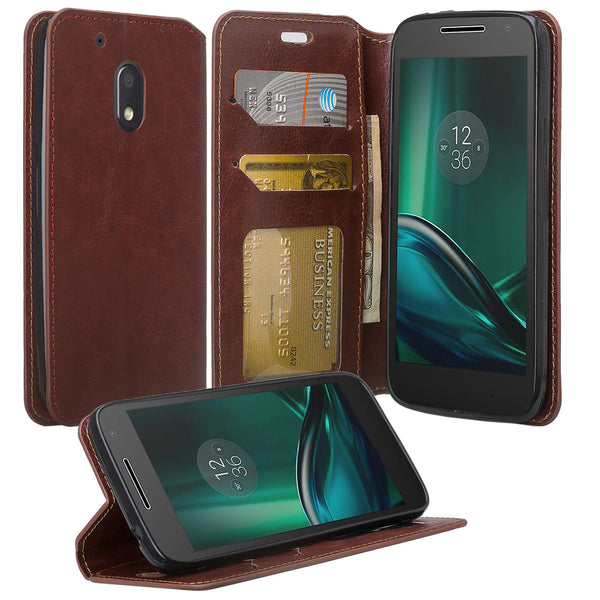 motorola moto g4 play leather wallet magnetic fold case - brown - www.coverlabusa.com
