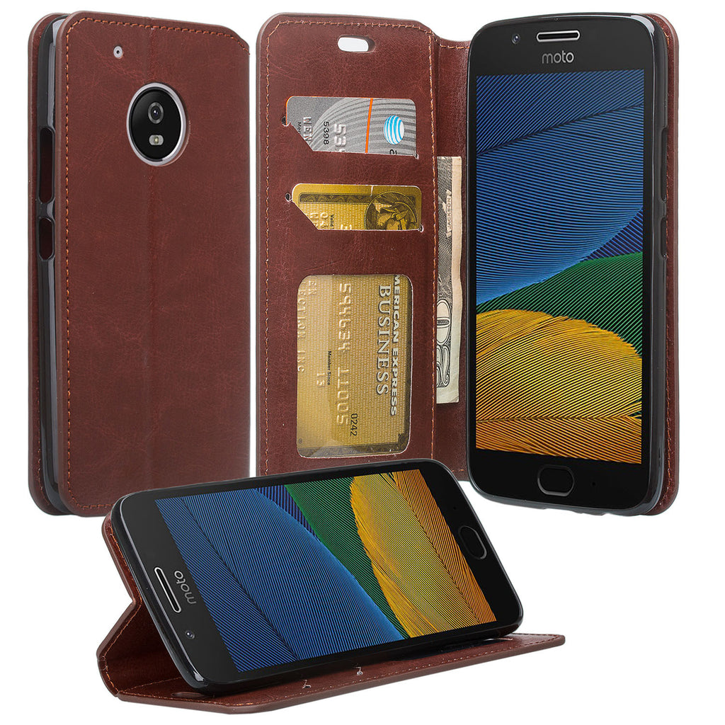 timeless design 950a3 99fd7 Motorola Moto G5 Plus Case, Moto G5 Plus Wallet Case, Slim Flip Folio  [Kickstand] Pu Leather Wallet Case with ID & Card Slots & Pocket - Brown