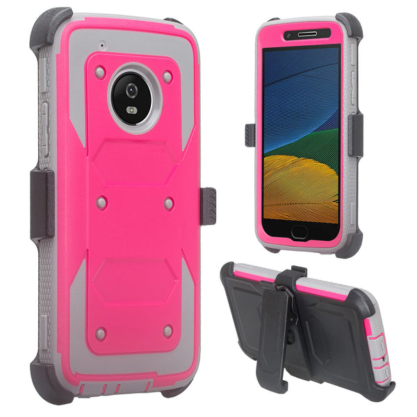 motorola moto g5 plus heavy duty holster case - hot pink - www.coverlabusa.com