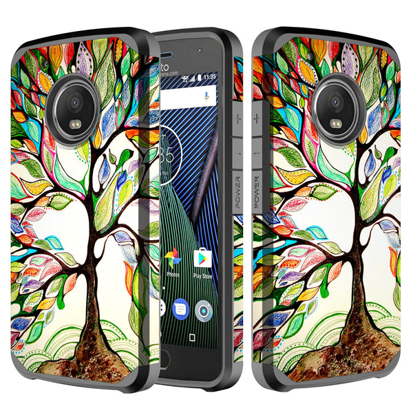 motorola moto g5 plus hybrid case - colorful tree - www.coverlabusa.com