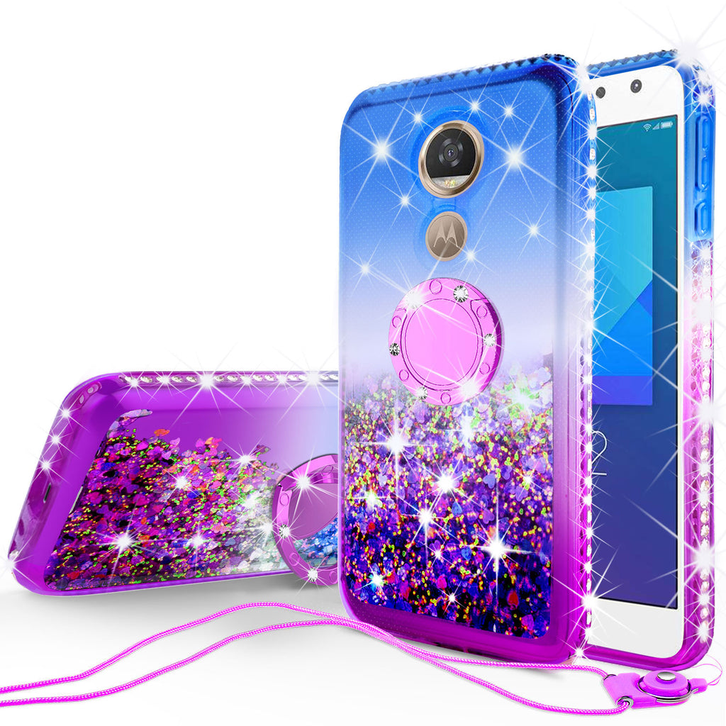 best service 3fcd8 714ef Glitter Phone Case Kickstand Compatible for Motorola Moto G6 Play, Moto G6  Forge Case,Ring Stand Liquid Floating Quicksand Bling Sparkle Protective ...