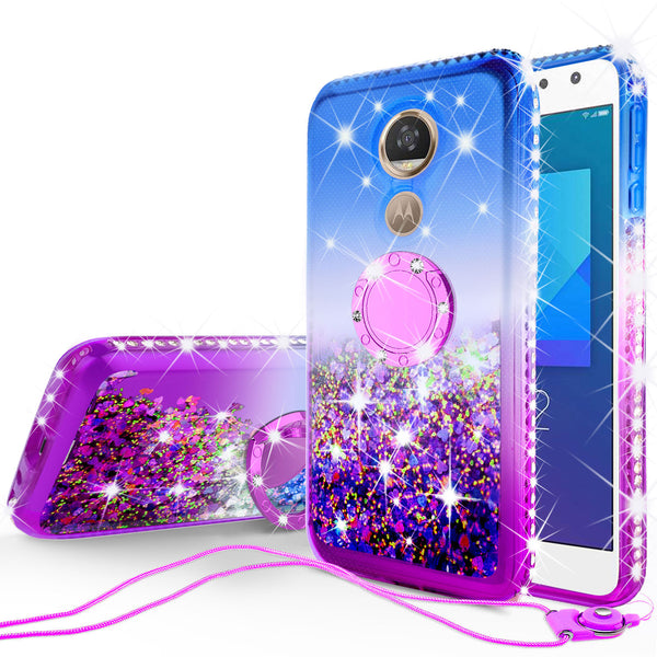 glitter ring phone case for moto g6 play - blue gradient - www.coverlabusa.com