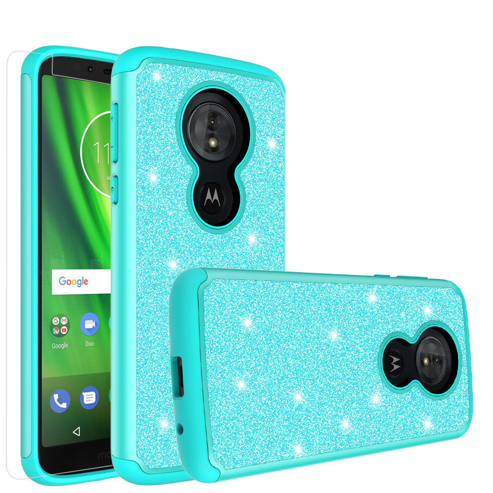 low priced aab53 b7928 Motorola Moto G6 Play, G6 Forge Case, Moto G6 Play , g6 Forge Glitter Bling  Heavy Duty Shock Proof Hybrid Case with [HD Screen Protector] Dual Layer ...