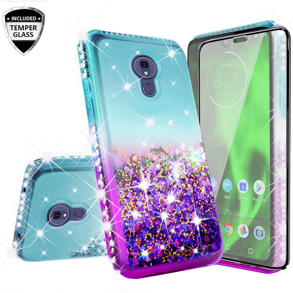 glitter phone case for motorola moto g7 - teal/purple gradient - www.coverlabusa.com