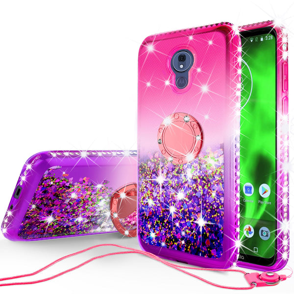 glitter ring phone case for motorola moto g7 - hot pink gradient - www.coverlabusa.com