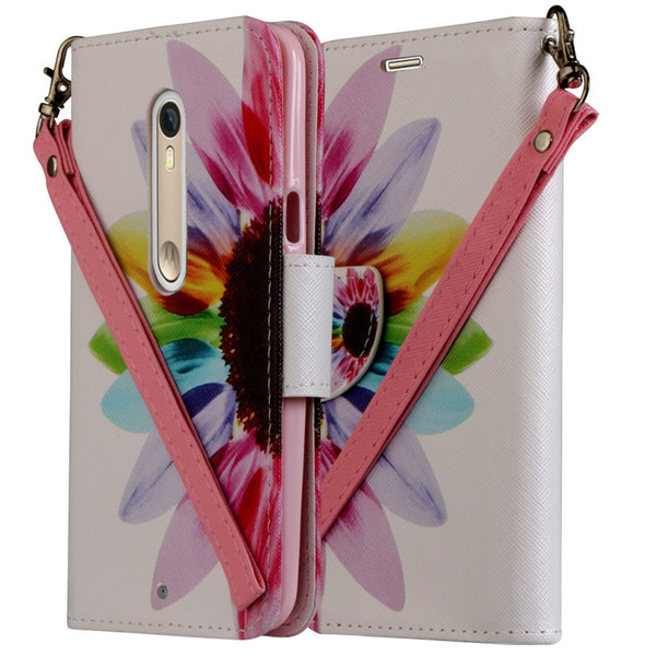 Motorola Moto X Style Wallet Case [Card Slots + Money Pocket + Kickstand] and Strap - Vivid Sunflower