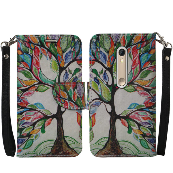 Motorola Moto X Style Wallet Case [Card Slots + Money Pocket + Kickstand] and Strap - Colorful Tree