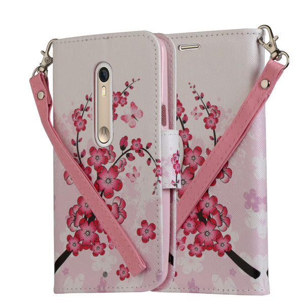 Motorola Moto X Style Wallet Case [Card Slots + Money Pocket + Kickstand] and Strap - Cherry Blossom