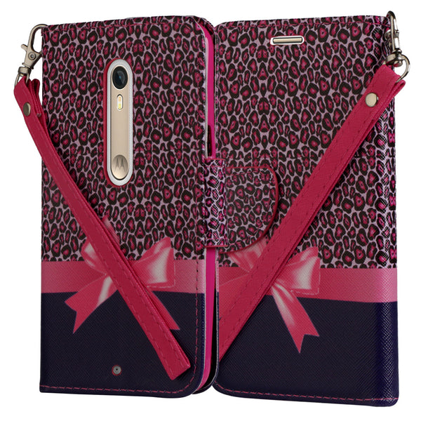 Motorola Moto X Style Wallet Case [Card Slots + Money Pocket + Kickstand] and Strap - Cheetah Prints