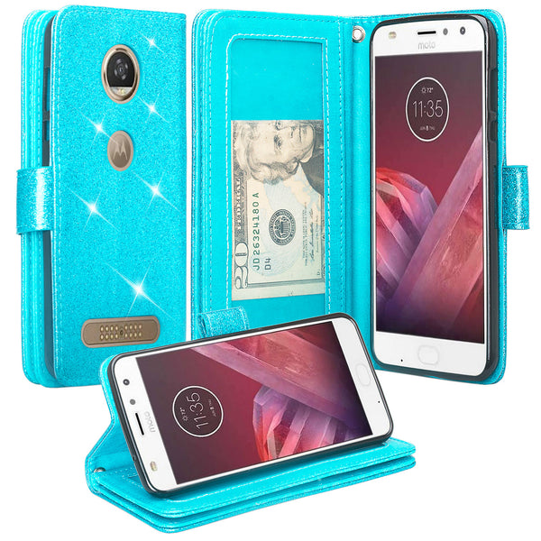 Motorola Moto Z2 Force Edition Glitter Wallet Case - Teal - www.coverlabusa.com