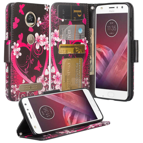 Moto Z2 Force Wallet Case - heart butterflies - www.coverlabusa.com