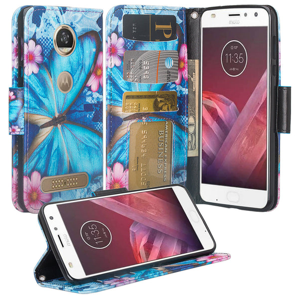 Moto Z2 Force Wallet Case - blue butterfly - www.coverlabusa.com
