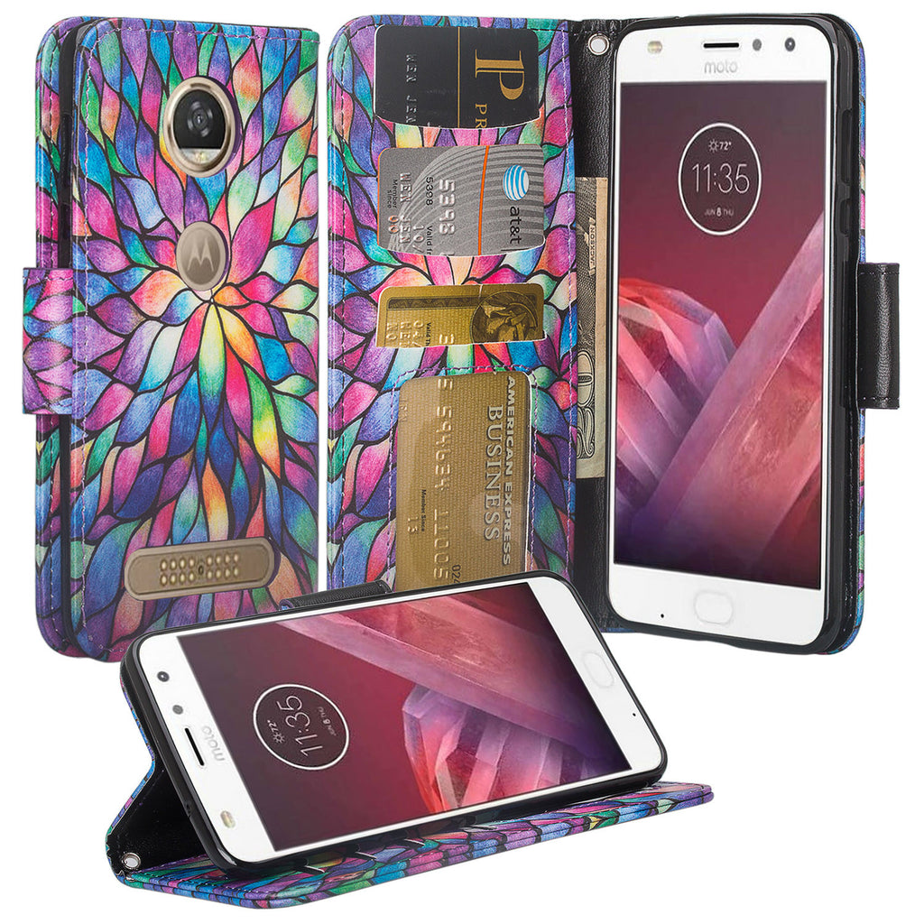 Moto Z2 Force Wallet Case - rainbow flower - www.coverlabusa.com