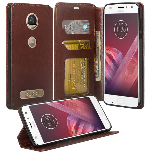 Moto Z2 Force Wallet Case - brown - www.coverlabusa.com