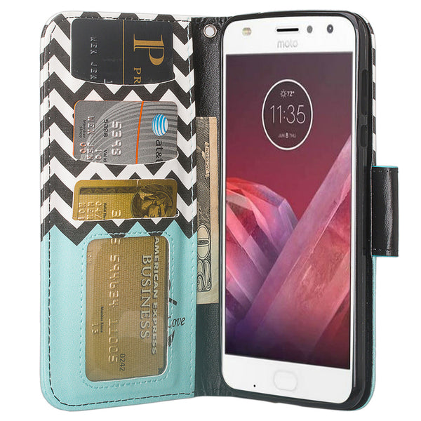 Moto Z2 Force Wallet Case - teal anchor - www.coverlabusa.com