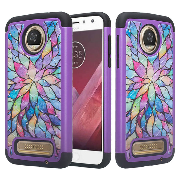 Motorola Moto Z2 Force Case, Moto Z2 Force Case, Slim Hybrid [Shock/Impact Resistant] Crystal Rhinestone Dual Layer Protective Cover for Moto Z2 Force - Rainbow Flower