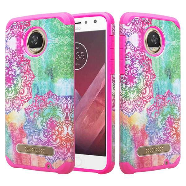 motorola moto z2 force hybrid case - teal flower - www.coverlabusa.com