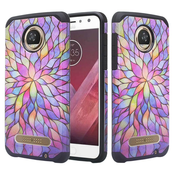 motorola moto z2 force hybrid case - rainbow flower - www.coverlabusa.com