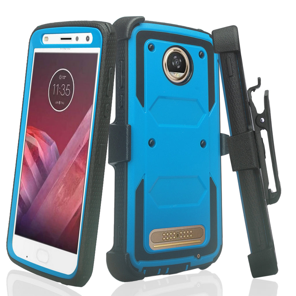 reputable site dd68f 2d18c Motorola Moto Z2 Play Case, Triple Protection 3-1 w/ Built in Screen  Protector Heavy Duty Holster Shell Combo Case - Blue