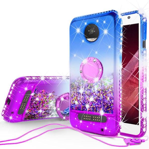 glitter ring phone case for moto z2 play - blue gradient - www.coverlabusa.com