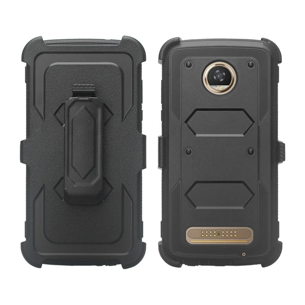 Motorola Moto Z2 Force heavy duty holster case - black - www.coverlabusa.com