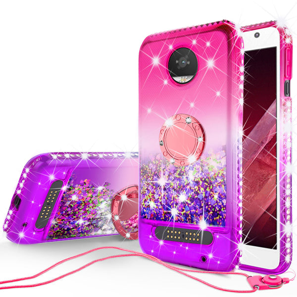 glitter ring phone case for moto z2 play - pink gradient - www.coverlabusa.com