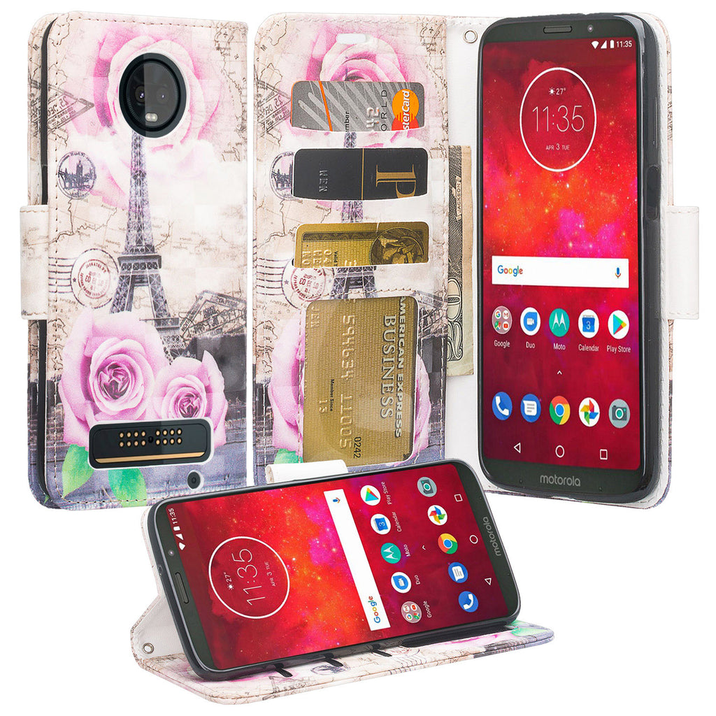 pretty nice b49ff c04de Motorola Moto Z3 Play Case, Moto Z3 Play Wallet Case, Wrist Strap Pu  Leather Wallet Case [Kickstand] with ID & Credit Card Slots - Paris