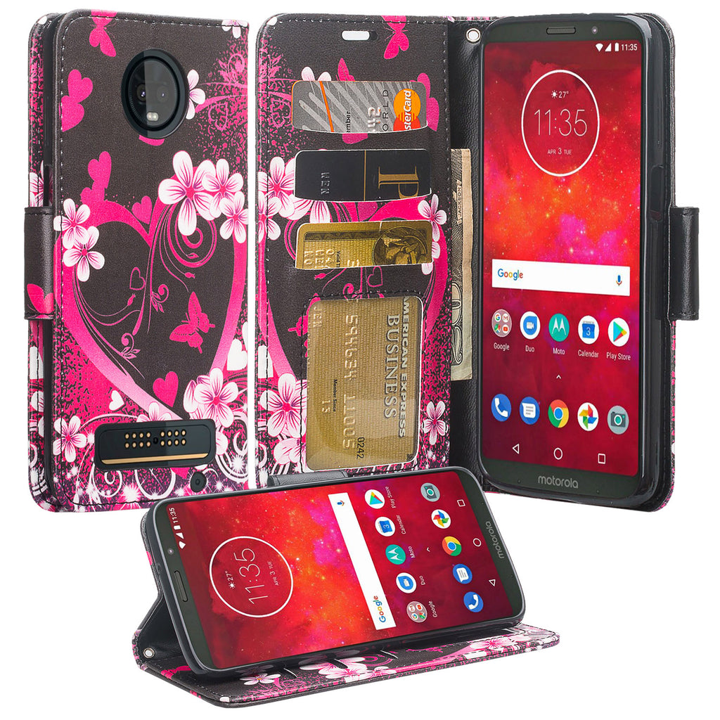 detailed look e0e74 ce5f8 Motorola Moto Z3 Play Case, Moto Z3 Play Wallet Case, Wrist Strap Pu  Leather Wallet Case [Kickstand] with ID & Credit Card Slots - Heart  Butterfies